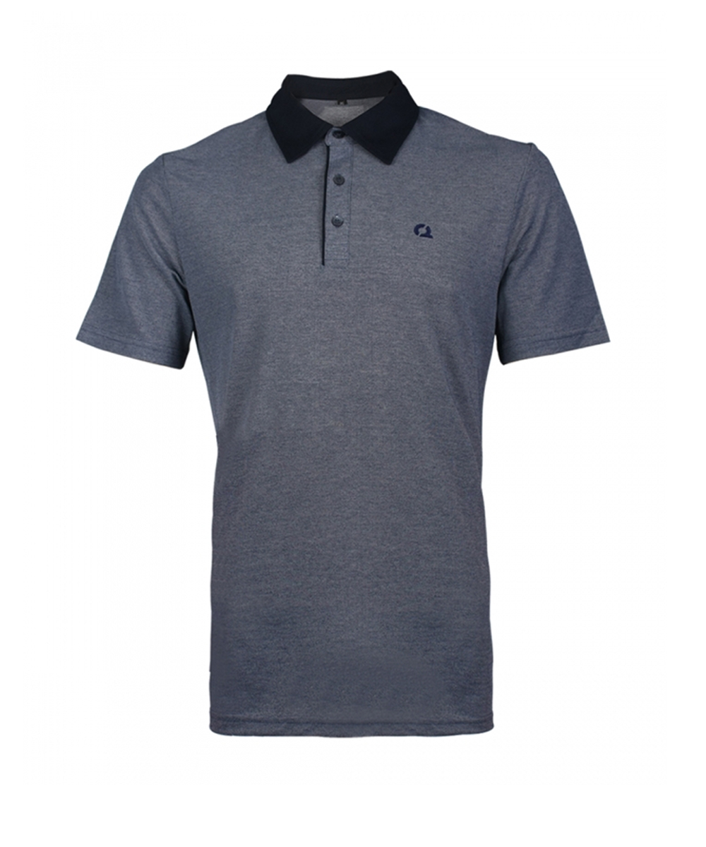 오투아이스 컬러배색 반팔 카라 티셔츠 - 네이비