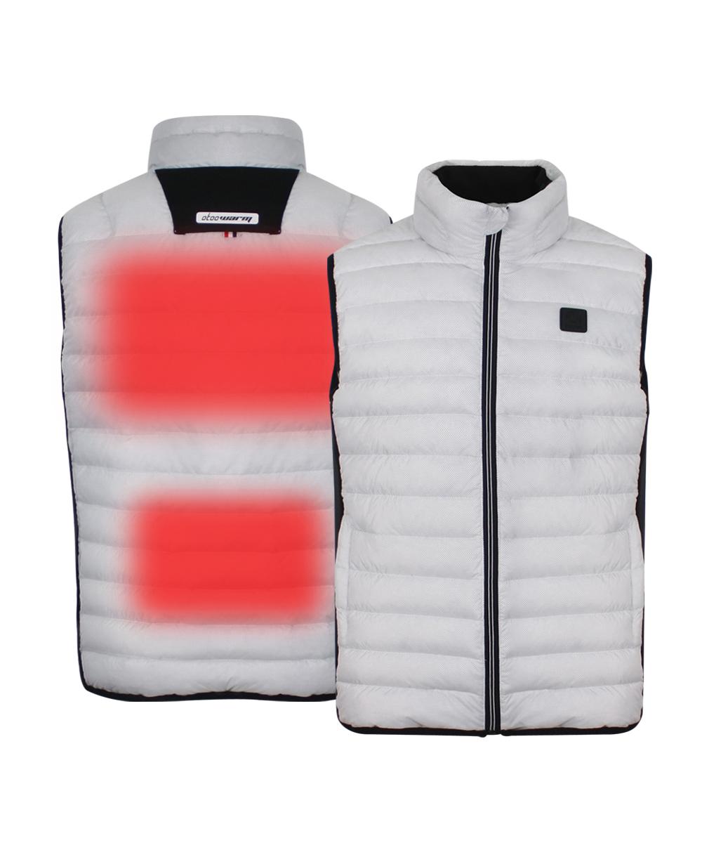 오투웜 액티브 짚업 패딩 발열조끼(대용량배터리 포함)- Active White -